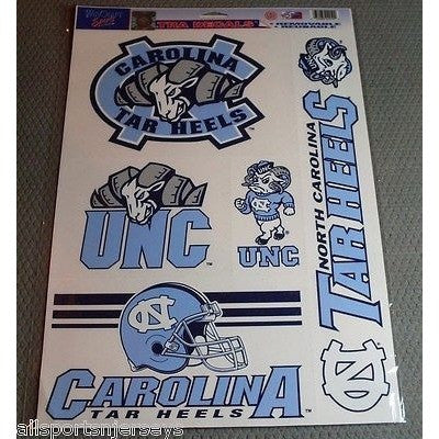 NCAA North Carolina Tar Heels UNC Ultra Decals Set of 5 By WINCRAFT