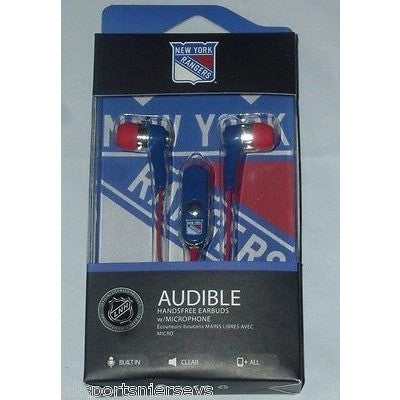 NHL New York Rangers Team Logo Earphones with Microphone by MIZCO