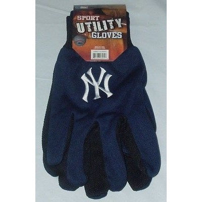 MLB NWT NO SLIP UTILITY WORK GLOVES - NEW YORK YANKEES - BLUE W/BLACK PALM