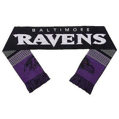 "NFL 2015 Reversible Split Logo Scarf Baltimore Ravens 64"" by 7"" FOCO"