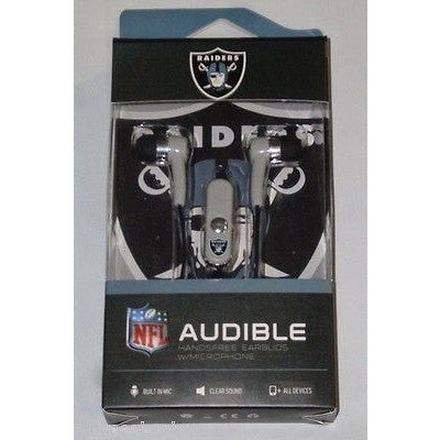 NFL Oakland Raiders Team Logo Earphones with Microphone by MIZCO
