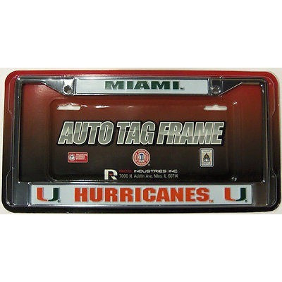 NCAA Miami Hurricanes Chrome License Plate Frame 2 Color Letters