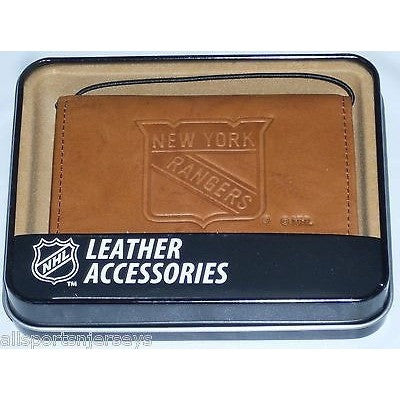 NHL New York Rangers Embossed TriFold Leather Wallet With Gift Box