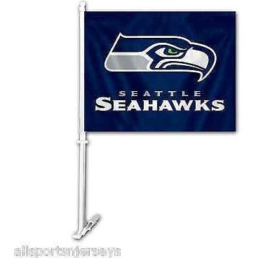 NFL Seattle Seahawks Logo over Name on Blue Window Car Flag