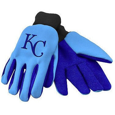 MLB NWT TEAM COLOR NO SLIP PALM UTILITY WORK GLOVES - KANSAS CITY ROYALS