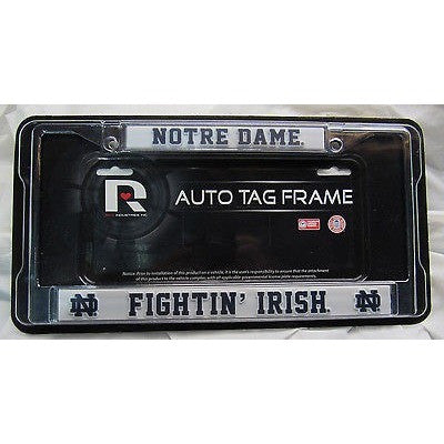 NCAA Notre Dame Fighting Irish Chrome License Plate Frame Thin Red Letters