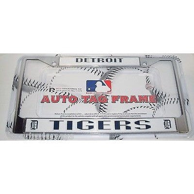 MLB Detroit Tigers Chrome License Plate Frame Thin Letters