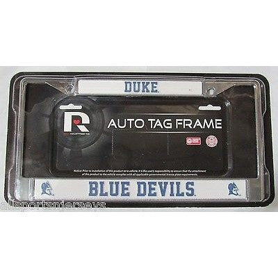 NCAA Duke Blue Devils Chrome License Plate Frame Thin Blue Letters