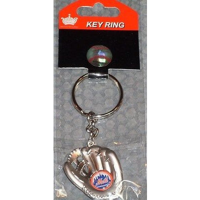 MLB Chrome Glove With Logo in Palm Key Chain New York Mets AMINCO