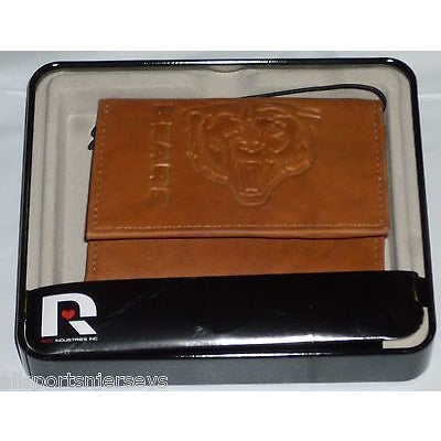 NFL Chicago Bears Embossed TriFold Leather Wallet With Gift Box