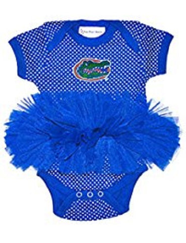 NCAA Florida Gators Logo on Blue Pin Dot Tutu Creeper NB by Two Feet Ahead