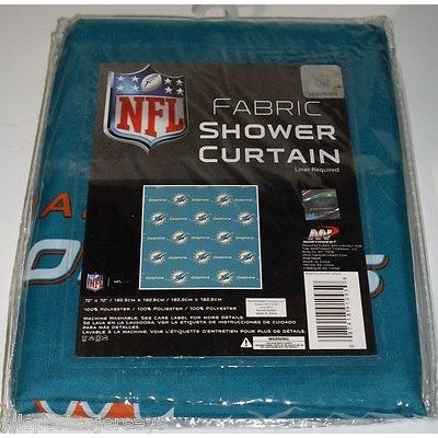 NFL 72 X 72 Inch Fabric Shower Curtain Miami Dolphins