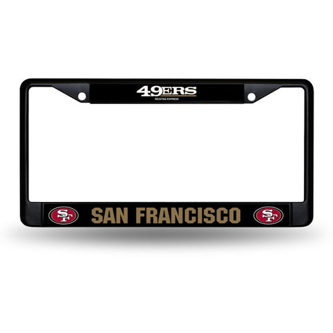 NFL San Francisco 49ers Black Chrome License Plate Frame Thick Letters