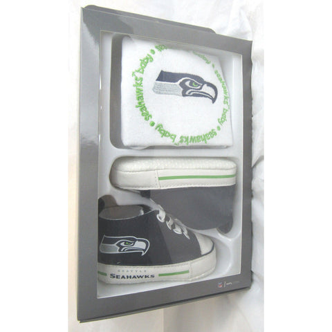 NFL BABY FANATIC BIB & PRE-WALKERS SNEAKERS SEATTLE SEAHAWKS