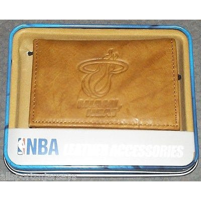 NBA Embossed TriFold Leather Wallet With Gift Box Miami Heat