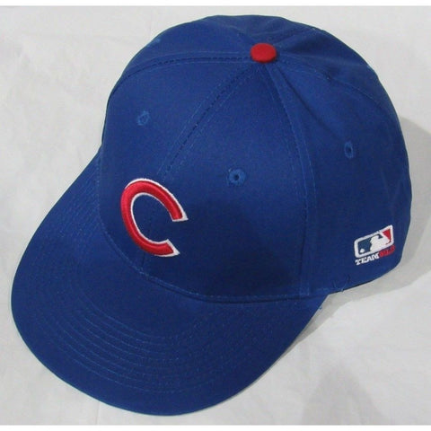 MLB Chicago Cubs Adult Cap Flat Brim Raised Replica Cotton Twill Hat Royal Home