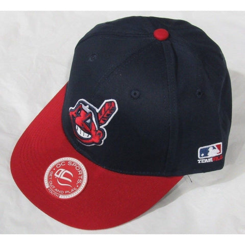 MLB Cleveland Indians Youth Cap Flat Brim Raised Replica Cotton Twill Hat Black/Red