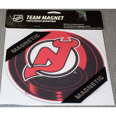 NHL New Jersey Devils 8 Inch Auto Magnet Logo Over Puck by Fremont Die