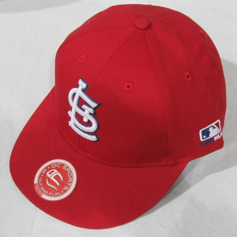 MLB St. Louis Cardinals Youth Cap Flat Brim Raised Replica Cotton Twill Hat All Red