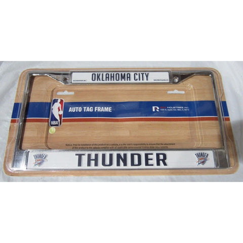 NBA Oklahoma Thunder Chrome License Plate Frame Thin Dark Blue Letters