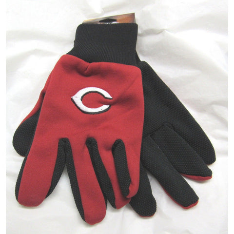 MLB NWT NO SLIP PALM UTILITY WORK GLOVES - CINCINNATI REDS - RED W/BLACK PALM