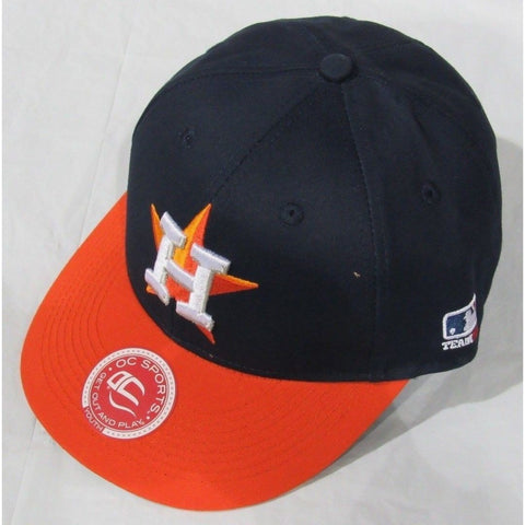 MLB Houston Astros Youth Cap Flat Brim Raised Replica Cotton Twill Hat Road