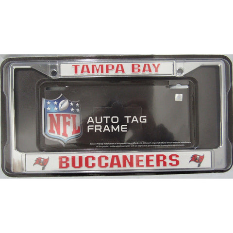 NFL Tampa Bay Buccaneers Chrome License Plate Frame Thick Red Letters