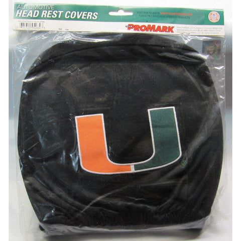 NCAA Miami Hurricanes Headrest Cover Embroidered Logo Set of 2 by Team ProMark