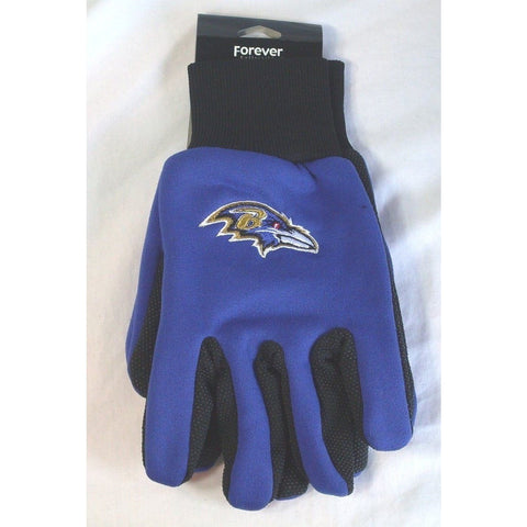 NFL No Slip Utility Work Gloves Baltimore Ravens Purple w/Black Palm