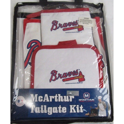 MLB Atlanta Braves Tailgate Kit 3 Piece Set Apron Oven Mitt Potholder McArthur
