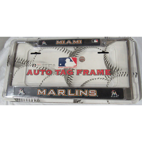 MLB Miami Marlins Chrome License Plate Frame Thick Letters On Black