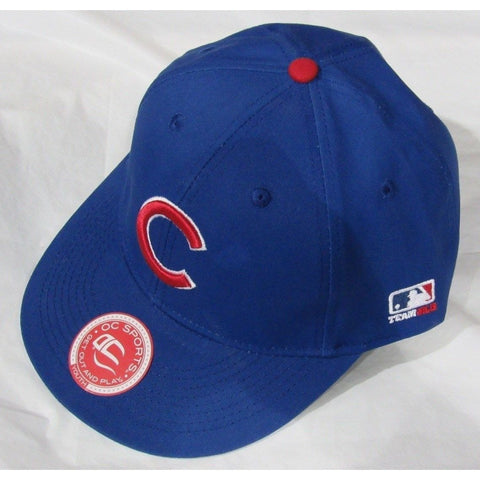 MLB Chicago Cubs Youth Cap Flat Brim Raised Replica Cotton Twill Hat Royal Blue Home
