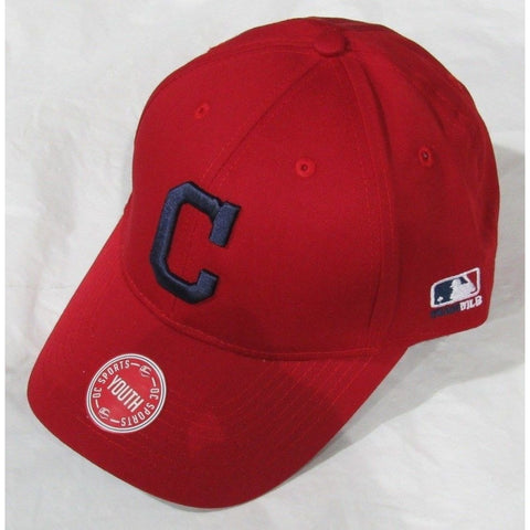 MLB Cleveland Indians Youth Cap Flat Brim Raised Replica Cotton Twill Hat All Red