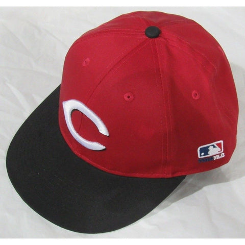 MLB Cincinnati Reds Youth Cap Flat Brim Raised Replica Cotton Twill Hat ROAD Red/Black