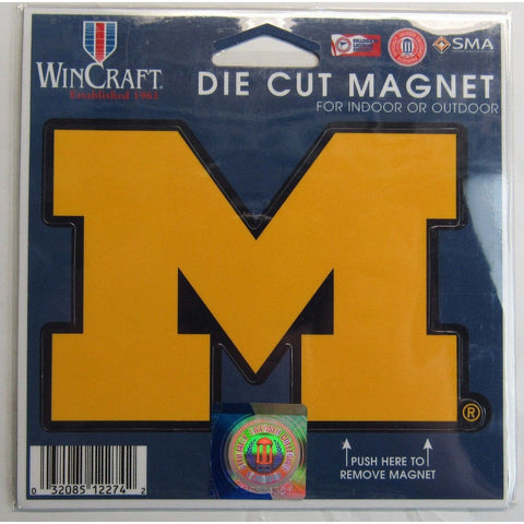 NCAA Michigan Wolverines Die Cut M 4 inch Auto Magnet by WinCraft