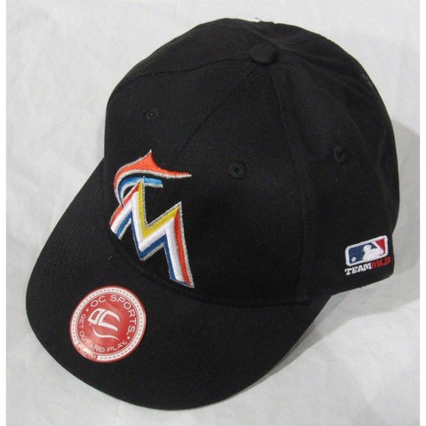 MLB Miami Marlins HAT Youth Cap Flat Brim Raised Replica Cotton Twill Hat