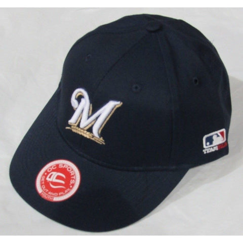 MLB Milwaukee Brewers Youth Cap Flat Brim Raised Replica Cotton Twill Hat Navy Blue