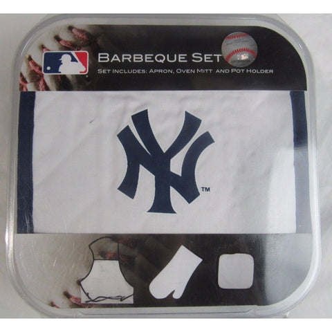 MLB New York Yankees BBQ Tailgate Kit 3 Piece Set Apron Oven Mitt Potholder McArthur