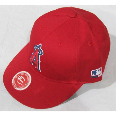 MLB LA Angels of Anaheim HAT Youth Cap Flat Brim Raised Replica Cotton Twill Hat Red