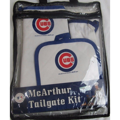 MLB Chicago Cubs BBQ Tailgate Kit 3 Piece Set Apron Oven Mitt Potholder McArthur