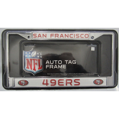 NFL San Francisco 49ers Chrome License Plate Frame Thin Letters