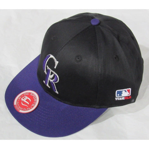 MLB Colorado Rockies Youth Cap Flat Brim Raised Replica Cotton Twill Hat Alt