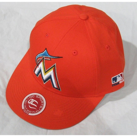 MLB Miami Marlins Youth Cap Flat Brim Raised Replica Cotton Twill Hat Orange