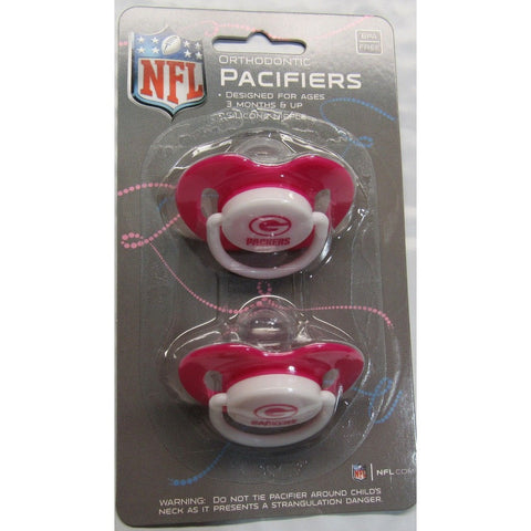 NFL Green Bay Packers Pink Pacifiers Set of 2 w/ Solid Shield on Card