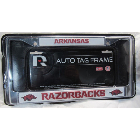 NCAA Arkansas Razorbacks Chrome License Plate Frame Pointed Letters