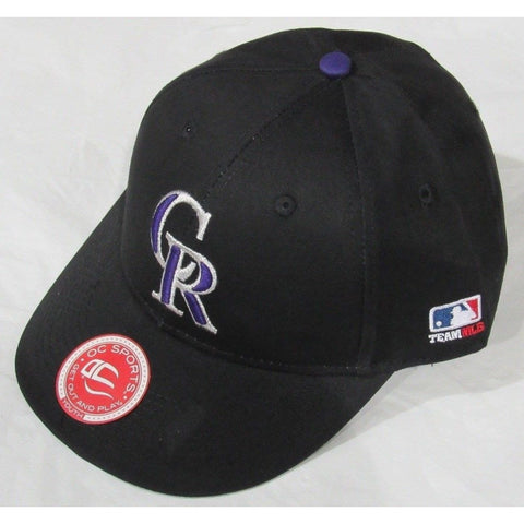 MLB Colorado Rockies Youth Cap Flat Brim Raised Replica Cotton Twill Hat All Black