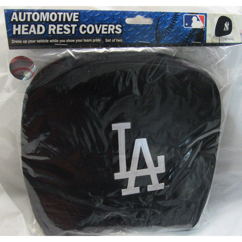 MLB Los Angeles Dodgers Headrest Cover Embroidered All White Logo Set of 2 by Team ProMark
