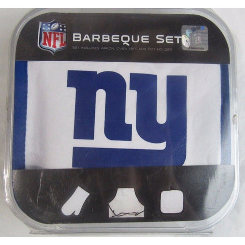 NFL New York Giants BBQ Tailgate Kit 3 Piece Set Apron Oven Mitt Potholder McArthur