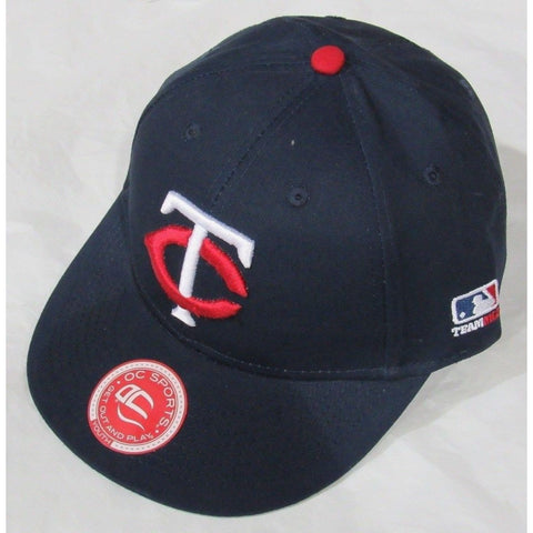 MLB Minnesota Twins Youth Cap Flat Brim Raised Replica Cotton Twill Hat Black