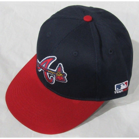 MLB Atlanta Braves Adult Cap Flat Brim Raised Replica Cotton Twill Hat Navy/Red Alt